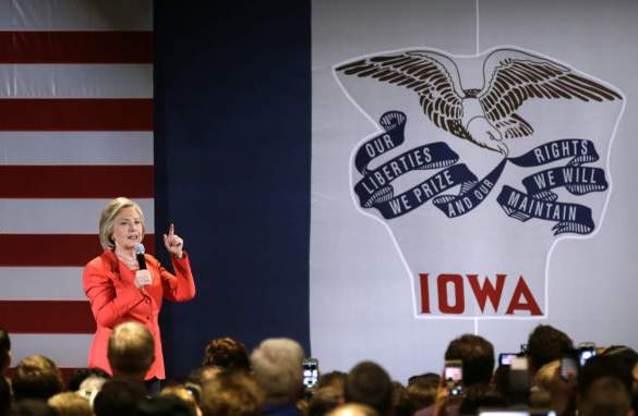Democratic presidential candidate Hillary Rodham Clinton speaks to supporters during a rally before the Iowa Democratic Party's Hall of Fame Dinner, Friday, July 17, 2015, in Cedar Rapids, Iowa. (AP Photo/Charlie Neibergall)