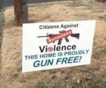 Gun-free zone sign