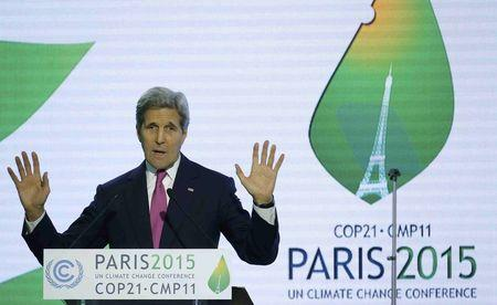 U.S. Secretary of State John Kerry delivers a speech the World Climate Change Conference 2015 (COP21) at Le Bourget, near Paris, France, December 9, 2015. REUTERS/Stephane Mahe