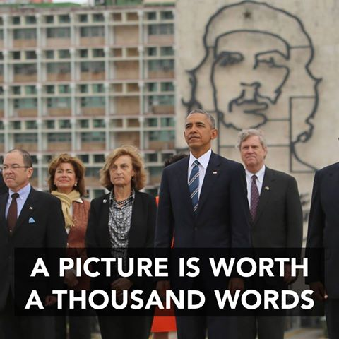 Obama in Cuba with Che