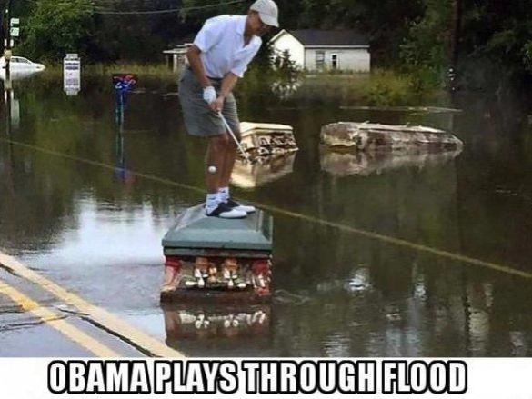 Obama Flood Golfing