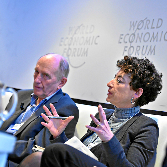 Naomi Oreskes, a Harvard University professor who helped organize the 2012 gathering, speaks at a World Economic Forum event in January 2015 in Switzerland. (Photo: Michael Buholzer/Swiss-Image/Newscom)