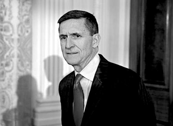 "File photo : Retired Lieutenant General Michael Flynn, U.S. national security advisor, arrives to a swearing in ceremony of White House senior staff in the East Room of the White House in Washington, D.C., U.S., on Sunday, Jan. 22, 2017. Trump today mocked protesters who gathered for large demonstrations across the U.S. and the world on Saturday to signal discontent with his leadership, but later offered a more conciliatory tone, saying he recognized such marches as a ""hallmark of our democracy."" Photographer: Andrew Harrer/Bloomberg(Sipa via AP Images)"